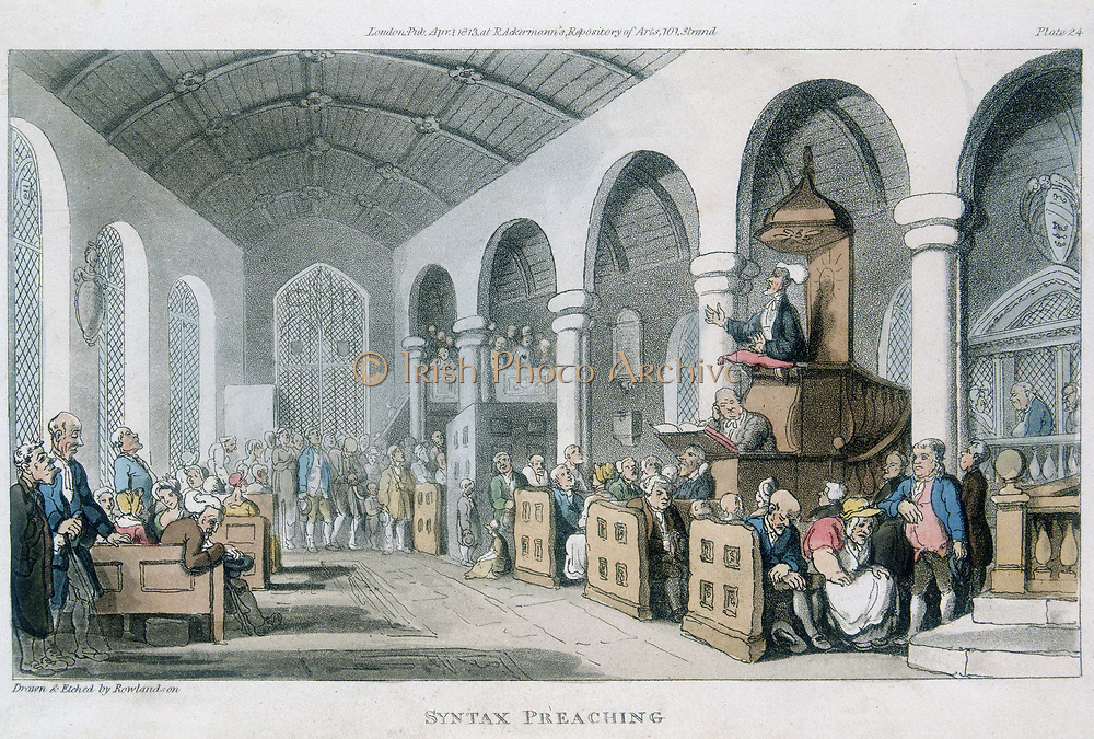 Dr Syntax Preaching. Aquatint by Rowlandson from 'The Tour of Dr Syntax in Search of the Picturesque', Ackermann, London, 1813. Pulpit with sounding board over. Pews for moneyed classes (servant sits outside pew). Gallery at right back. Poor stand at back of aisle,