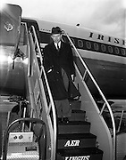 15/01/1962<br /> 01/15/1962<br /> 15 January 1962<br /> Samuel C. Johnson, Vice President of S.C. Johnson and Son Incorporated arrives at Dublin Airport. Mr. Johnson, S.C. Johnson and Son Incorporated (Johnson's Wax International) Regional Director for Europe, Africa and the Middle East was visiting Ireland as one of the three principal speakers at the Second National Export Conference held by Coras Trachtala, the Federation of Irish Industries and the Irish Exporters Association at the Gresham Hotel Dublin that week.