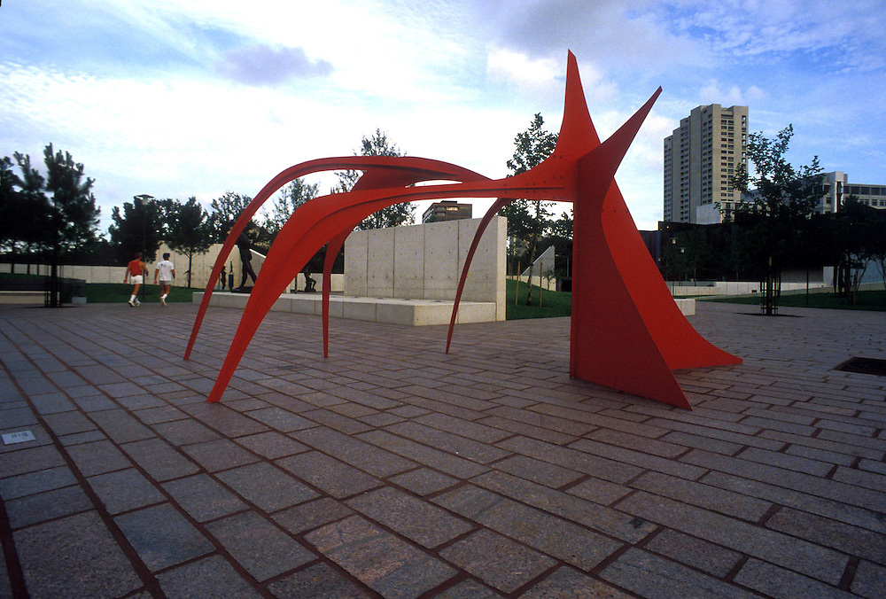 Stock photo of Calder's Crab in the sculpture garden of the Museum of Fine Arts in Houston Texas