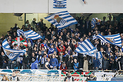 09.04.2016, Estadio de Anoeta, San Sebastian, ESP, Primera Division, Real Sociedad vs FC Barcelona, 32. Runde, im Bild Real Sociedad's supporters // during the Spanish Primera Division 32th round match between Real Sociedad and FC Barcelona at the Estadio de Anoeta in San Sebastian, Spain on 2016/04/09. EXPA Pictures © 2016, PhotoCredit: EXPA/ Alterphotos/ Acero<br /> <br /> *****ATTENTION - OUT of ESP, SUI*****
