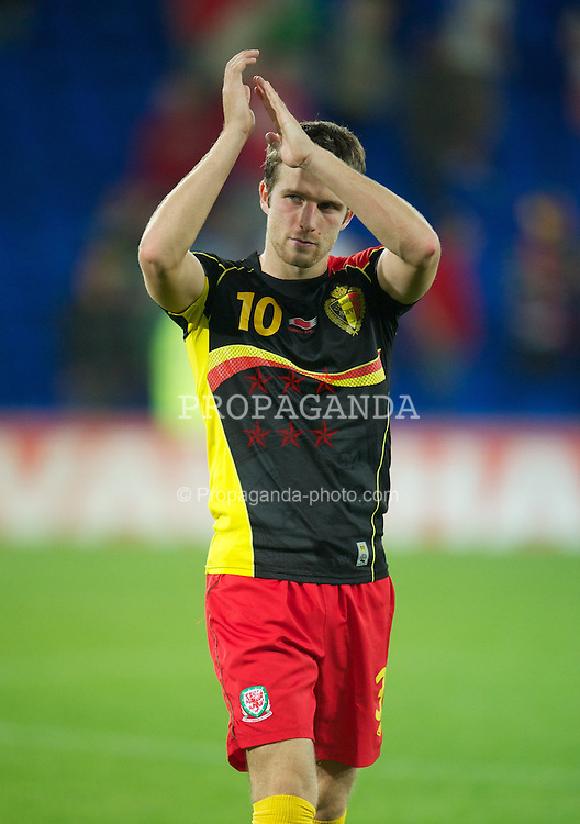 CARDIFF, WALES - Friday, September 7, 2012: Wales' Adam Matthews looks dejected after his 10-men side lose 2-0 to Belgium during the 2014 FIFA World Cup Brazil Qualifying Group A match at the Cardiff City Stadium. (Pic by David Rawcliffe/Propaganda)