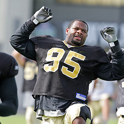 31 July 2009: New Orleans Saints defensive end Paul Spicer (95) stretches during the opening day of New Orleans Saints training camp held at the team's practice facility in Metairie, Louisiana.