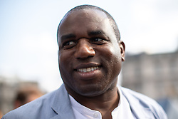 © Licensed to London News Pictures . 13/07/2018. London, UK. DAVID LAMMY amongst thousands of demonstrators in Trafalgar Square at a rally in protest against US President Donald Trump's UK visit . Photo credit: Joel Goodman/LNP