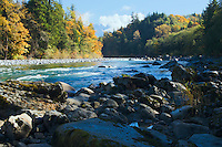 Skykomish River in the Washington Central Cascades in fall USA&amp;#xA;<br />
