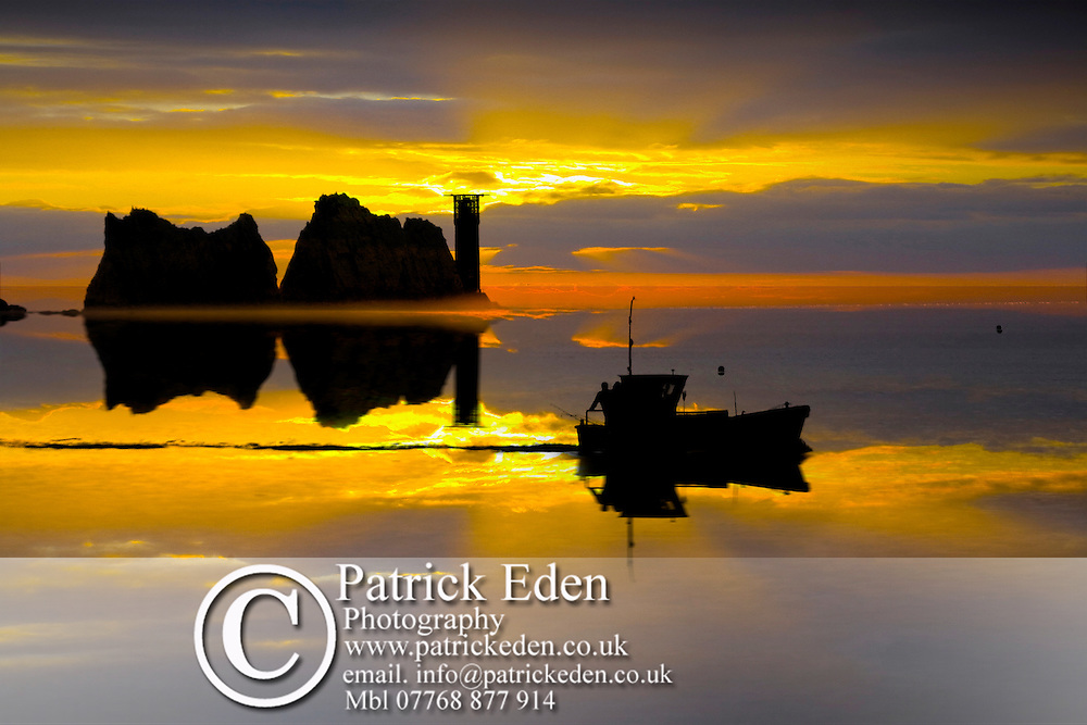 Sunset Fishing Boat sea stacks light house Needles, sunset, Isle of Wight, England, UK, West Wight Portfolio, Photography, Patrick Eden, Photography, Isle of Wight, England, UK photography photograph canvas canvases