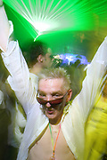 Clubbers all dressed in White outfits. Sensation white, Holland. 15 April 2006