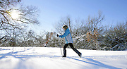 Connie Hull skis along the Riverside Drive trails in Tulsa, OK.