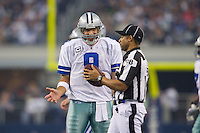 06 November 2011: Quarterback (9) Tony Romo of the Dallas Cowboys argues a call with NFL Official Greg Bradley while playing against the Seattle Seahawks during the second half of the Cowboys 23-13 victory over the Seahawks at Cowboy Stadium in Arlington, TX.