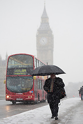 © licensed to London News Pictures. London, UK 20/01/2013. One of two comparison pictures showing the difference in weather between winter conditions in 2013 and 2014. A man with an umbrella walking on Westminster Bridge in the snow  in London on 20, January 2014. Photo credit: Tolga Akmen/LNP