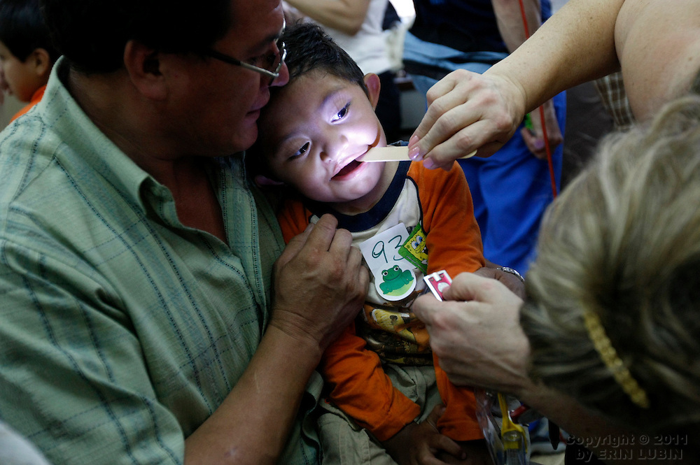 Jesus Montiel, 4 years old, during screening on November 8, 2007, at the Hospital Japones in Santa Cruz, Bolivia during Operation Smile's World Journey of Smiles...Photograph by Erin Lubin