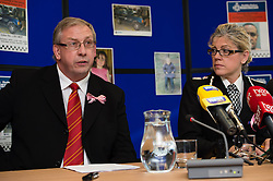 © Licensed to London News Pictures. 06/10/2012. Aberystwyth Wales UK. (L-R) IWAN JENKINS,  District Crown Prosecutor of the Crown Prosecution Service Cymru Wales and JACKIE ROBERTS, Chief Constable Dyfed Pows Police. At a press conference this afternoon 6th October 2012. IWAN JENKINS announced that 46 year old MARK BRIDGER would be charged with MURDER, CHILD ABDUCTION and PERVERTING THE COURSE OF JUSTICE, in relation to the disappearance of 5 year old APRIL JOINES. Photo credit: Keith Morris/LNP
