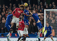 Football - 2017 / 2018 Premier League - Chelsea vs Manchester United<br /> <br /> Marouane Fellaini (Manchester United) causes chaos in the Chelsea defence as a cross comes over at Stamford Bridge <br /> <br /> COLORSPORT/DANIEL BEARHAM