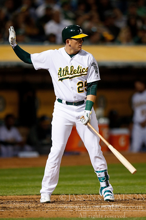 OAKLAND, CA - APRIL 04:  Ryon Healy #25 of the Oakland Athletics calls for time during an at bat against the Los Angeles Angels of Anaheim during the third inning at the Oakland Coliseum on April 4, 2017 in Oakland, California. The Los Angeles Angels of Anaheim defeated the Oakland Athletics 7-6. (Photo by Jason O. Watson/Getty Images) *** Local Caption *** Ryon Healy