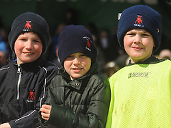 Westport Mini Rugby players held out as ball boys  Peter McNally, Charlie Kelly and Christopher Gavin  during the junior cup final. Pic Conor McKeown