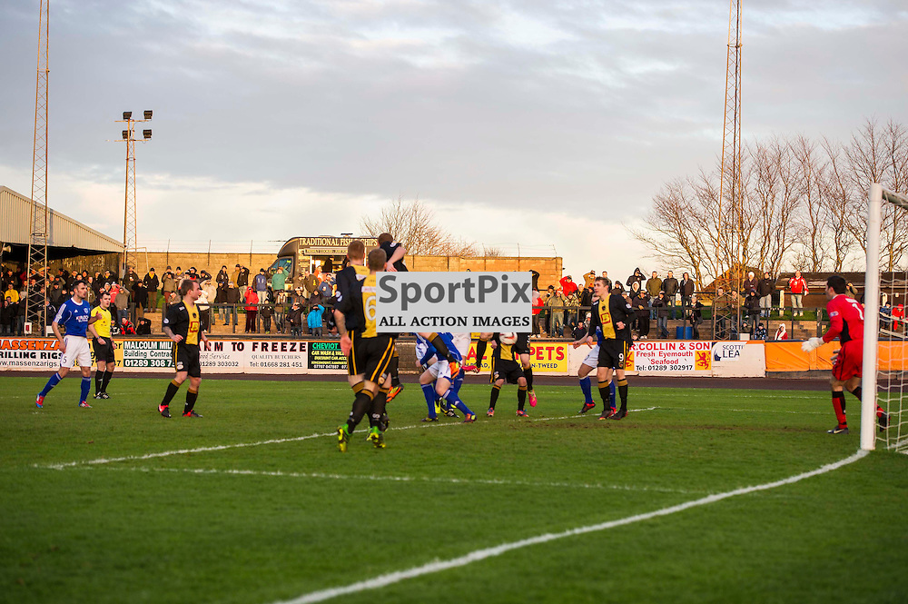 Peterhead's Rory McAllister gets the opening goal as Berwick Rangers entertained Peterhead at Shielfield Park, Berwick on Tweed. 28 December 2013 (c) GER HARLEY | SportPix.org.uk
