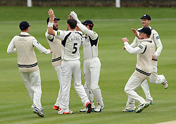 Middlesex's James Harris celebrates the wicket of Durham's Keaton Jennings - Photo mandatory by-line: Robbie Stephenson/JMP - Mobile: 07966 386802 - 04/05/2015 - SPORT - Football - London - Lords  - Middlesex CCC v Durham CCC - County Championship Division One
