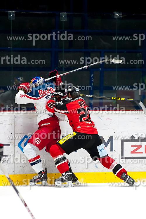 17.11.2015, Ice Rink, Znojmo, CZE, EBEL, HC Orli Znojmo vs EC Red Bull Salzburg, 21. Runde, im Bild v.l. Peter Hochkofler (EC Red Bull Salzburg ) Marek Biro (HC Orli Znojmo) // during the Erste Bank Icehockey League 21th round match between HC Orli Znojmo and EC Red Bull Salzburg at the Ice Rink in Znojmo, Czech Republic on 2015/11/17. EXPA Pictures © 2015, PhotoCredit: EXPA/ Rostislav Pfeffer