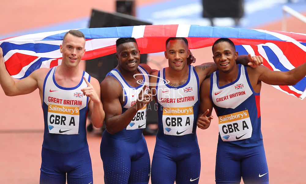 The Great Britain Men 4 x 100m Relay team during the Sainsbury's Anniversary Games at the Queen Elizabeth II Olympic Park, London, United Kingdom on 25 July 2015. Photo by Phil Duncan.