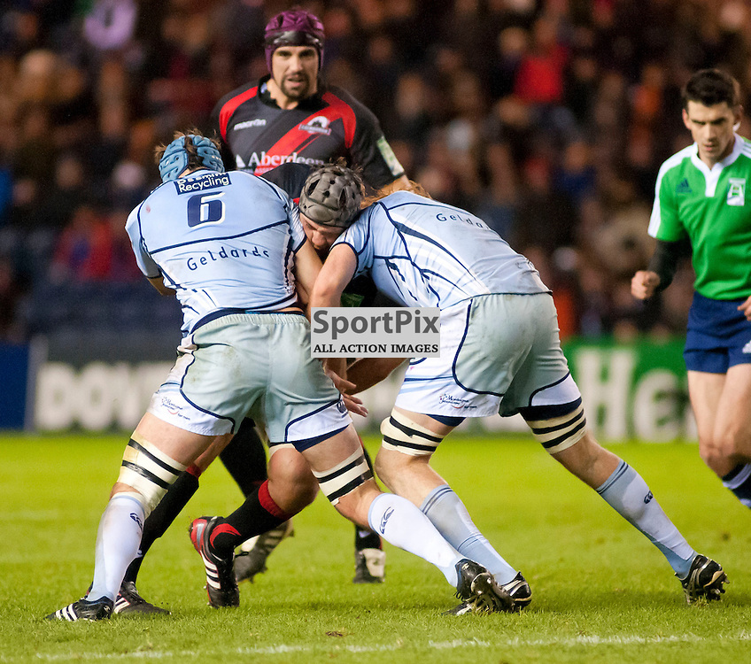 Netani Talei cant find a way through the Cardiff defence, Edinburgh Rugby v Cardiff Blues, Heineken Cup