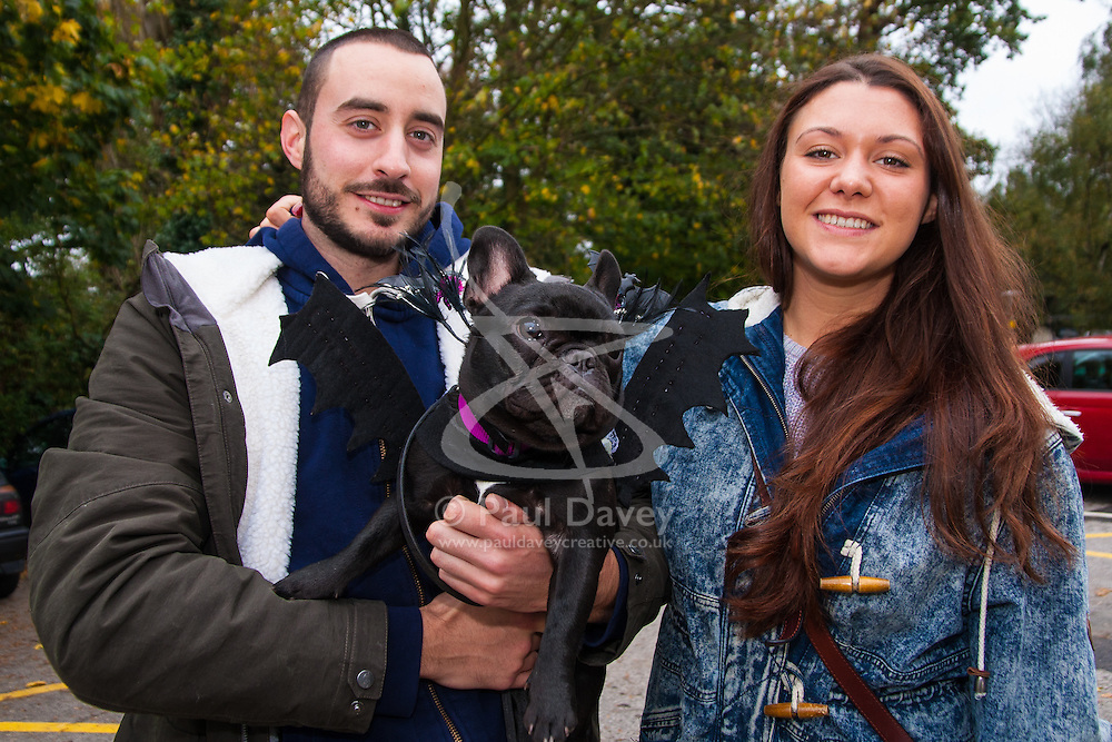 Hampstead Heath, London, October 26th 2014. Dogs rescue and re-homing charity All Dogs Matter hold their annual Halloween fancy dress dog walk on Hampstead heath. PICTURED: Owners Myles and Miri with their French Bulldog Bean.