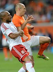 04-06-2014 NED: Vriendschappelijk Nederland - Wales, Amsterdam<br /> Nederland wint met 2-0 van Wales / Arjen Robben, Danny Gabbidon
