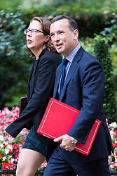 London, September 5th 2017. Welsh Secretary Alun Cairns and Lord Privy Seal and Leader of the House of Lords Baroness Natalie Evans  attend the first UK cabinet meeting at Downing Street after the summer recess. ©Paul Davey