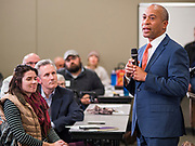 18 NOVEMBER 2019 - DES MOINES, IOWA: Former Governor DEVAL PATRICK (D-MA) talks to Polk County Democrats at their November monthly meeting in Des Moines Monday night. Gov. Patrick made his first campaign trip to Iowa Monday after announcing his candidacy to be the Democratic nominee for the US Presidency. His stops included a meeting of the Polk County Democrats in Des Moines. Iowa hosts the first presidential selection event of the 2020 presidential election cycle. The Iowa Caucuses are Feb. 3, 2020.            PHOTO BY JACK KURTZ