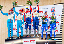 24.02.2019, Langlauf Arena, Seefeld, AUT, FIS Weltmeisterschaften Ski Nordisch, Seefeld 2019, Langlauf, Herren, Teambewerb, Flower Zeremonie, im Bild v.l. Silbermedaillengewinner Gleb Retivykh (RUS), Alexander Bolshunov (RUS), Goldmedaillengewinner Johannes Hoesflot Klaebo (NOR), Emil Iversen (NOR), Bronzemedaillengewinner Federico Pellegrino (ITA), Francesco De Fabiani (ITA) // v.l. Silver medalist Gleb Retivykh Alexander Bolshunov of Russian Federation World champion and Gold medalist Johannes Hoesflot Klaebo Emil Iversen of Norway and Bronce medalist Federico Pellegrino Francesco De Fabiani of Italy during the Flowers ceremony for the men's cross country team competition of FIS Nordic Ski World Championships 2019 at the Langlauf Arena in Seefeld, Austria on 2019/02/24. EXPA Pictures © 2019, PhotoCredit: EXPA/ Stefan Adelsberger