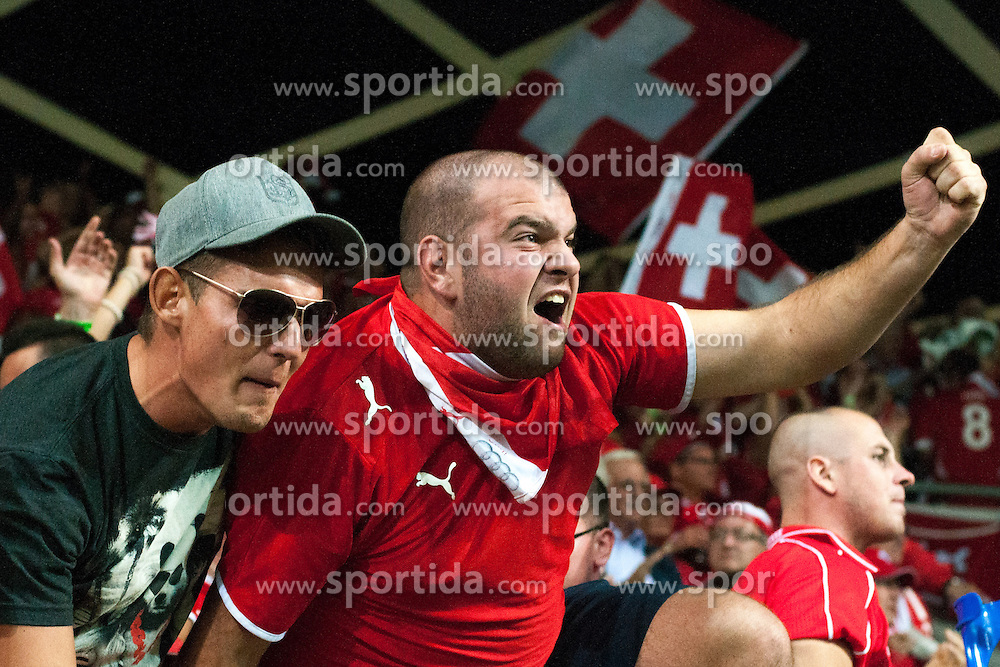 Fans of Switzerland celebrate during qualification football match for World Cup 2014 in Brazil between national team of Slovenia and Switzerland, on September 7, 2012 in Ljubljana, Slovenia. (Photo by Matic Klansek Velej / Sportida.com)