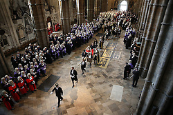 © Licensed to London News Pictures. 01/10/2015. London, UK. The Lord Chancellor and Secretary of State for Justice MICHAEL GOVE walks with The Lord Chief Justice Baron Thomas of Cwmgiedd as they take part in the annual Judges Service at Westminster Abbey. The Service heralds the start of the legal year in the United Kingdom. Photo credit: Peter Macdiarmid/LNP