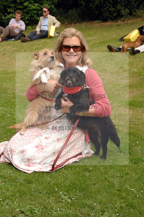 JO MILLER mother of actress Sienna Miller with her dogs Porgy (black dog) &amp; Bess  at Macmillan Dog Day in aid of Macmillan Cancer Support, held at Royal Hospital Chelsea, London on 3rd July 2007.<br />