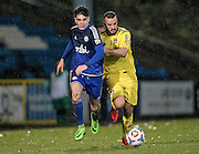 Josh MacDonald (Halifax) runs with the ball during the Conference Premier League match between FC Halifax Town and Guiseley at the Shay, Halifax, United Kingdom on 5 December 2015. Photo by Mark P Doherty.