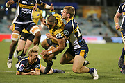 Julian Savea on his way to the line during the Super Rugby match, Brumbies V Hurricanes, GIO Stadium, Canberra, Australia, 30th June 2018.Copyright photo: David Neilson / www.photosport.nz