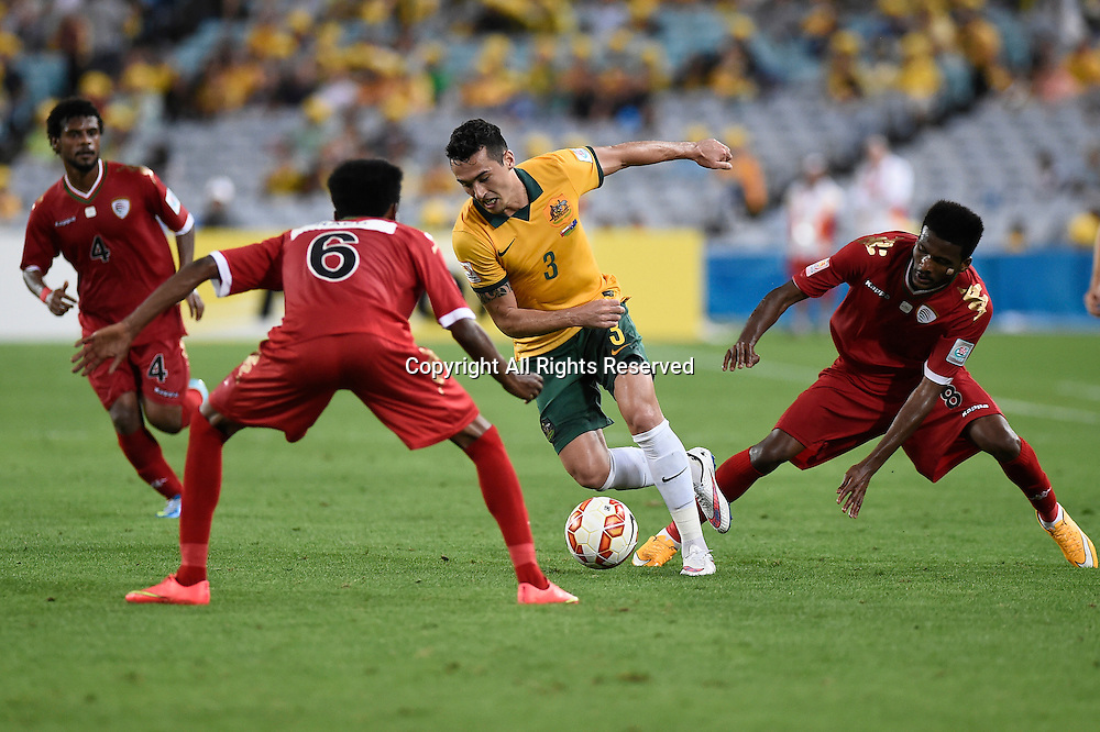 13.01.2015.  Sydney, Australia. AFC Asian Cup Group A. Australia versus Oman. Australian defender Jason Davidson is surrounded by players from Oman. Australia won the game 4-0.