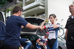 Nicole Hanselmann (SUI) of Cervélo-Bigla Cycling Team perpares her race radio before the start of the Prudential RideLondon Classique, a 66 km road race in London on July 30, 2016 in the United Kingdom.