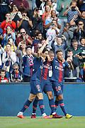 Neymar da Silva Santos Junior - Neymar Jr (PSG) scored a goal and elebrated it with Kylian Mbappe (PSG) and Edinson Roberto Paulo Cavani Gomez (El Matador) (El Botija) (Florestan) (PSG) during the French championship L1 football match between Paris Saint-Germain (PSG) and SCO Angers, on August 25th, 2018 at Parc des Princes Stadium in Paris, France - Photo Stephane Allaman / ProSportsImages / DPPI