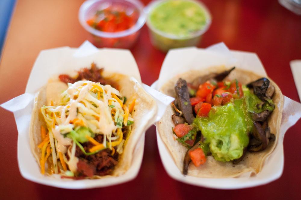 Pastrami and Mushroom Tacos at Flats Fix (¢hun)