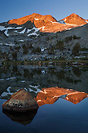 The morning sun touches the peaks surrounding Davis Lake, Ansel Adams Wilderness