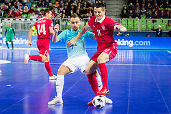 Rok Mordej of Slovenia and Milos Simic of Serbia during futsal match between Slovenia and Serbia at Day 1 of UEFA Futsal EURO 2018, on January 30, 2018 in Arena Stozice, Ljubljana, Slovenia. Photo by Ziga Zupan / Sportida