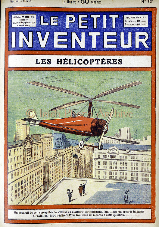 Autogiro (1928) designed by Spanish engineer Juan de la Cierva (Cordoniu) 1896-1936. From 'Le Petit Inventeur', Paris, 1928.