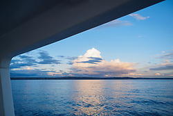 United States, Washington, Seattle, dramatic clouds and Elliott Bay viewed from boat