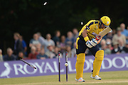 Hampshire t20 captain all-rounder Sean Ervine is bowled 1st ball by Middlesex bowler Toby Roland-Jones during the NatWest T20 Blast South Group match between Middlesex County Cricket Club and Hampshire County Cricket Club at Uxbridge Cricket Ground, Uxbridge, United Kingdom on 27 May 2016. Photo by David Vokes.