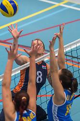 14-02-2016 NED: Nederland - Oekraine, Houten<br /> De Nederlandse paravolleybalsters speelde een vriendschappelijke wedstrijd tegen Europees kampioen Oekra&iuml;ne. De equipe van bondscoach Pim Scherpenzeel bereidt zich tegen Oekra&iuml;ne voor op het Paralympisch kwalificatietoernooi in China, dat in maart wordt gespeeld /   Paula List #8 of Nederland