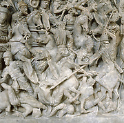Romans in battle against the Barbarians. Scene from sarcophagus of a general of Roman emperor Marcus Aurelius (121-180). 2nd century AD. National Museum, Rome.
