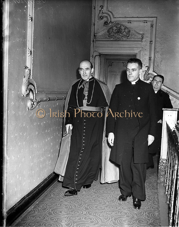 21/12/1952<br /> 12/21/1952<br /> 21 December 1952<br /> Archbishop John McQuaid arriving at the Capitol Theatre Dublin for Our Lady's Choral Society and the Radio Eireann Symphony Orchestra's production of Handel's Messiah with Fr. Griffith.