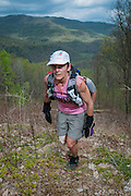 Beverly Anderson-Abs in the lead group on loop 1 at the Testicle Spectacle during the Barkley Marathons.