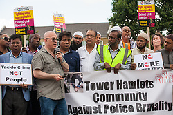 London, UK. 12 July, 2019. Jack Gilbert, Chair of the local Safer Neighbourhood group, addresses members of the local community protesting in Poplar after Friday prayers close to the site where Younis Bentahar, aged 38, was violently arrested by Metropolitan Police officers on 10th July following a 5-stage warning. The incident, during which Mr Bentahar appeared to be having a seizure, has since been referred to the Metropolitan Police's Central East Command Professional Standards Unit after a video of the arrest went viral on social media. Mr Bentahar was filmed being struck with handcuffs and pinned down by police officers after he had stopped on a single yellow line with a disabled badge displayed and ignored the five-stage warning.