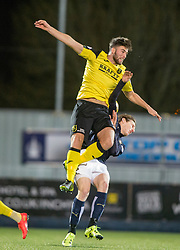 Livingston Morgan Neill over Falkirk's Blair Alston. Falkirk 2 v 0 Livingston, Scottish Championship game played 29/12/2015 at The Falkirk Stadium.