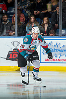 KELOWNA, CANADA - NOVEMBER 11: Dillon Dube #19 of the Kelowna Rockets skates with the puck against the Red Deer Rebels on November 11, 2017 at Prospera Place in Kelowna, British Columbia, Canada.  (Photo by Marissa Baecker/Shoot the Breeze)  *** Local Caption ***