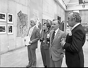 The G.P.A.awards for Emerging Artists..(Guinness Peat Aviation).1984..23.09.1984..09.23.1984..23rd September 1984..The award ceremony was held at The Royal Hibernian Academy of Arts,Gallagher Gallery,Ely Place,Dublin..Image taken of (L-R) Mr Noel Sheridan,Chairman Advisory Panel, Ms Dorothy Walker,Mr Maurice Foley,GPA Director and Mr Tony.A.Ryan,GPA Director,as they view some of the exhibits.